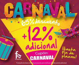 65+12% de Descuento adicional por Carnaval